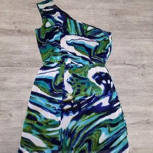 Toga Style Blue & Green Swirl Mini Dress Sz 10